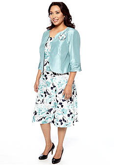 Dana Kay Plus Size Shantung Jacket Dress