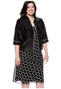 Dana Kay Plus Size Dot Print Jacket Dress