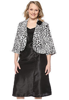 Plus Size Animal Print Jacket Dress