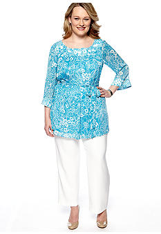 Dana Kay Plus Size Three-Quarter Sleeved Pant Set