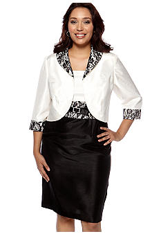 Plus Size Shantung Jacket Dress with Lace Trim
