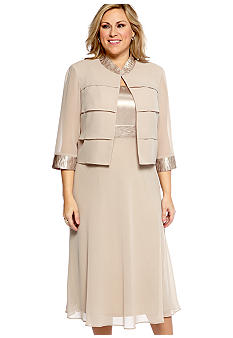 Dana Kay Plus Size Three-Quarter Sleeved Jacket Dress