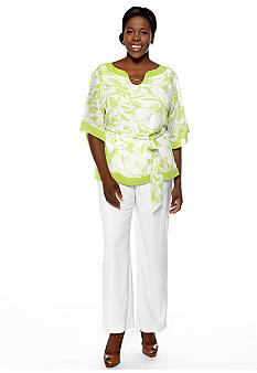 Dana Kay Plus Size Elbow-Sleeved Pant Set