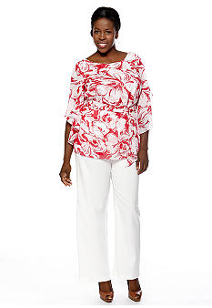 Dana Kay Plus Size Split-Sleeved Pant Set