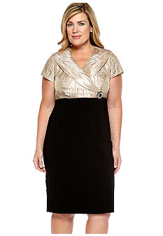 Dana Kay Plus Size Cap-Sleeved Two-Tone Dress
