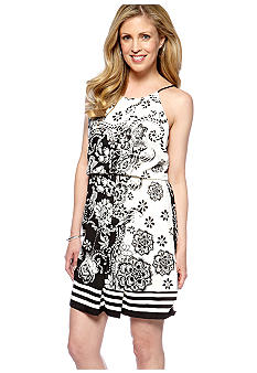 ECI New York Halter Placement Printed Dress