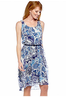 ECI New York Sleeveless Printed Hi-Lo Dress