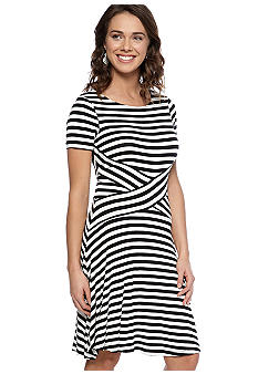 ECI New York Short-Sleeved Stripe A-Line Dress