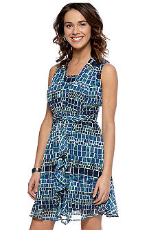 ECI New York Sleeveless Printed Swing Dress