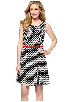 ECI New York Sleeveless Fit and Fare Belted Dress