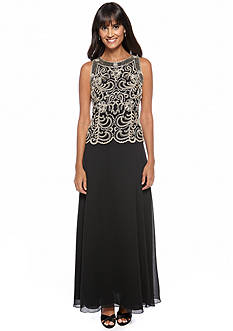 JKARA Sleeveless Gown with Beaded Detail