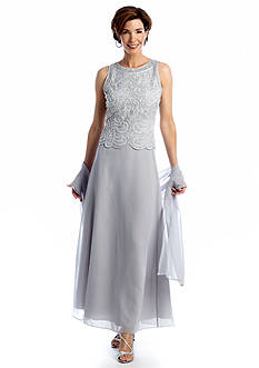 JKARA Sleeveless Beaded Gown with Scarf
