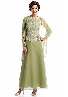 JKARA Sleeveless Beaded Gown with Scarf