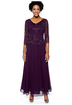 JKARA Three-Quarter Sleeved Mock Two Piece Beaded Gown