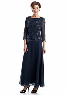 JKARA Three-Quarter Sleeve Beaded Gown