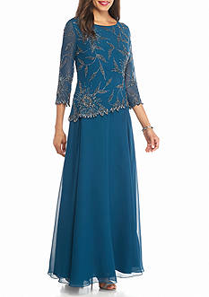 JKARA Mock Two-Piece Bead Embellished Gown