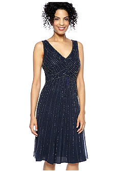 JKARA Sleeveless Beaded V-Neck Dress with Scarf