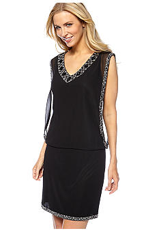 JKARA Sleeveless Blouson Beaded Cocktail Dress