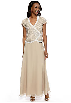 JKARA Flutter-Sleeved V-Neck Gown with Beaded Detail