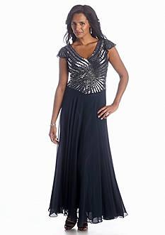 JKARA Flutter Sleeve Sequin Gown