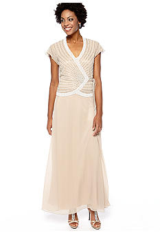 JKARA Flutter Sleeved Beaded Gown