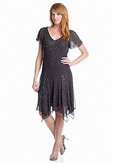 JKARA Fit and Flare Beaded Cocktail Dress