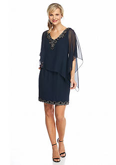JKARA Bead Embellished Popover Shift Dress