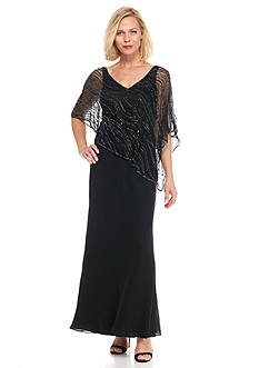 JKARA Beaded Popover Gown