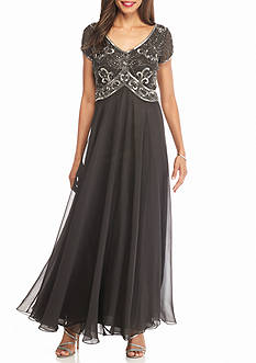 JKARA Sequin Bodice Chiffon Gown