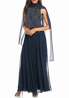 JKARA Mock Two-Piece Beaded Bodice Gown with Scarf