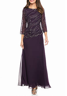 JKARA Bead Embellished Mock Two-Piece Gown