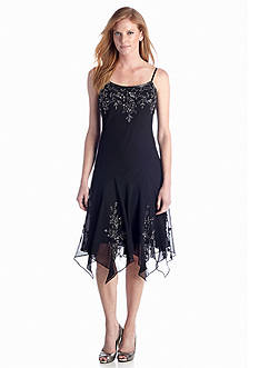 JKARA Bead and Sequin Embellished Cocktail Dress
