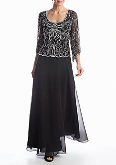 JKARA Long Beaded Gown