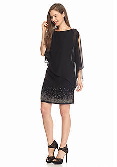 Xscape Bead Embellished Sheath Dress with Capelet Overlay