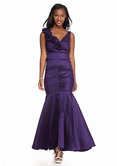 Xscape Rosette Ruffle Shoulder Gown