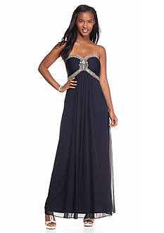 Xscape Strapless Empire-waist Gown with Bead Embellishment