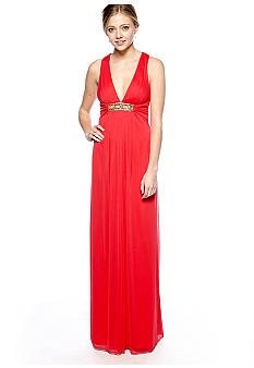 Xscape Halter Gown with Crisscross Back