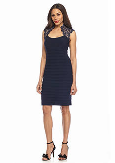 Xscape Cap-Sleeve Matte Jersey Sheath Dress
