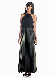 Xscape Halter Pleated Gown
