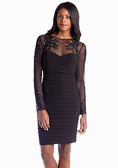 Xscape Long Sleeve Cocktail Dress