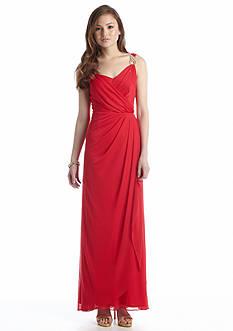 Xscape Sleeveless Drape Neckline Gown