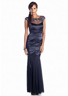 Xscape Satin Gown with illusion Neckline