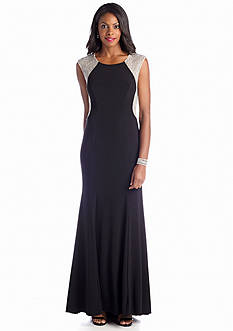 Xscape Cap Sleeve Gown with Bead Embellishment