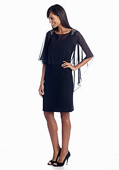 Xscape Sheath Cocktail Dress with Cape Popover