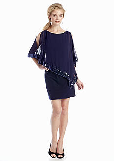 Xscape Jersey Cocktail Dress with Chiffon and Sequin Overlay
