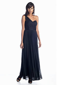 Xscape One Shoulder Pleated Gown