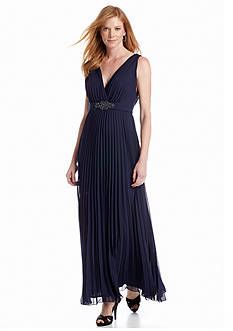 Xscape Sleeveless Pleated Gown with Brooch