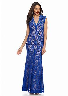 Xscape Illusion Neckline Lace Gown