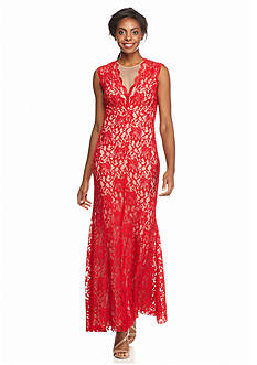 Xscape Illusion Neckline Lace Gown