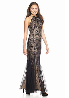 Xscape Sequin and Lace Halter Gown